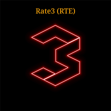 Rate3 (RTE) cryptocurrency symbol. Vector illustration isolated on black background Illustration