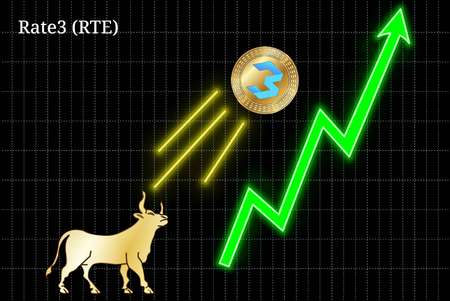 Gold bull, throwing up Rate3 (RTE) cryptocurrency golden coin up the trend. Bullish Rate3 (RTE) chart Illustration