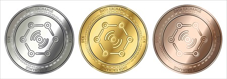Gold, silver and bronze DaTa EXchange (DTX) cryptocurrency coin. DaTa EXchange (DTX) coin set. Stock Illustratie