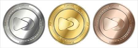 Gold, silver and bronze PlayCoin (PLY) cryptocurrency coin. PlayCoin (PLY) coin set.