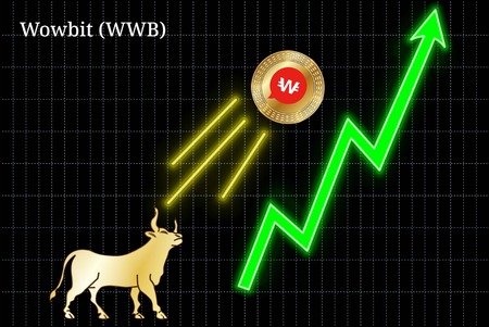 Gold bull, throwing up Wowbit (WWB) cryptocurrency golden coin up the trend. Bullish Wowbit (WWB) chart