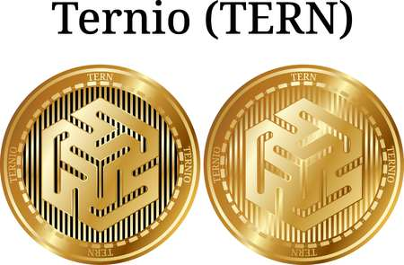 Set of physical golden coin Ternio (TERN), digital cryptocurrency.  icon set. Vector illustration isolated on white background.