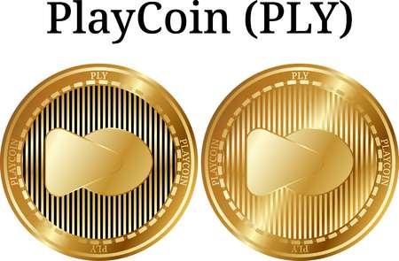 Set of physical golden coin PlayCoin (PLY), digital cryptocurrency.  icon set. Vector illustration isolated on white background. Illustration