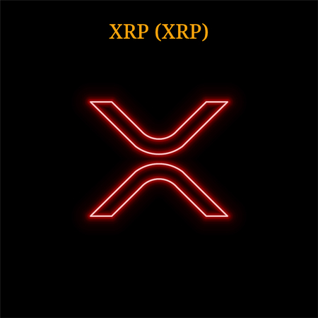 XRP (XRP) cryptocurrency symbol. Vector illustration isolated on black background