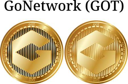 Set of physical golden coin GoNetwork (GOT), digital cryptocurrency.  icon set. Vector illustration isolated on white background. Vectores