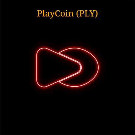 PlayCoin (PLY) cryptocurrency symbol. Vector illustration isolated on black background Illustration