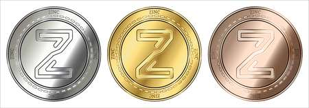 Gold, silver and bronze ZINC (ZINC) cryptocurrency coin. ZINC (ZINC) coin set.