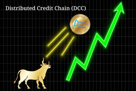 Gold bull, throwing up Distributed Credit Chain (DCC) cryptocurrency golden coin up the trend. Bullish Distributed Credit Chain (DCC) chart Illustration