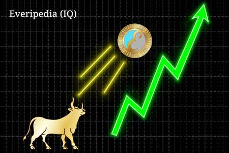 Gold bull, throwing up Everipedia (IQ) cryptocurrency golden coin up the trend. Bullish Everipedia (IQ) chart Illustration