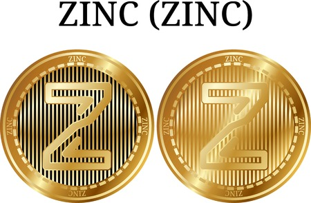 Set of physical golden coin ZINC (ZINC), digital cryptocurrency.  icon set. Vector illustration isolated on white background.