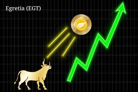 Gold bull, throwing up Egretia (EGT) cryptocurrency golden coin up the trend. Bullish Egretia (EGT) chart Illustration