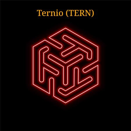 Ternio (TERN) cryptocurrency symbol. Vector illustration isolated on black background