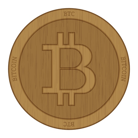 Wooden Bitcoin (BTC) cryptocurrency coin.