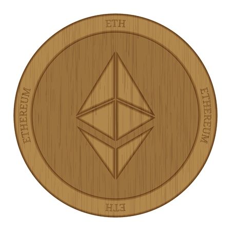 Wooden Ethereum (ETH) cryptocurrency coin.