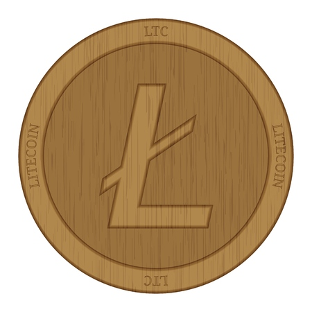 Wooden Litecoin (LTC) cryptocurrency coin. Illustration