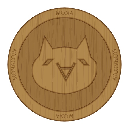 Wooden Monacoin (MONA) cryptocurrency coin.