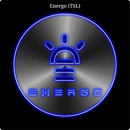 Metal Energo (TSL) cryptocurrency coin with blue neon glow.