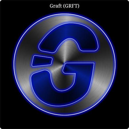 Moneta kryptowalutowa Metal Graft (GRFT) z niebieską, neonową poświatą.