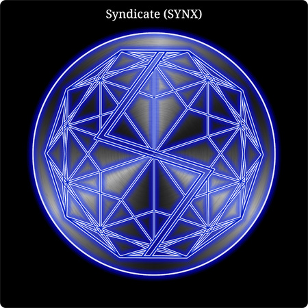 Metal Syndicate (SYNX) cryptocurrency coin with blue neon glow.