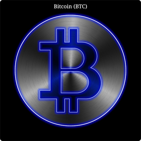 Metal Bitcoin (BTC) cryptocurrency coin with blue neon glow.