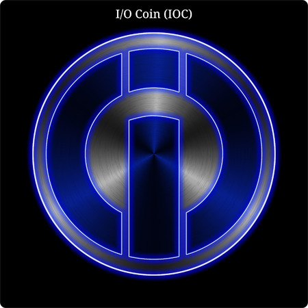 Metal I-O Coin (IOC) cryptocurrency coin with blue neon glow. Ilustração