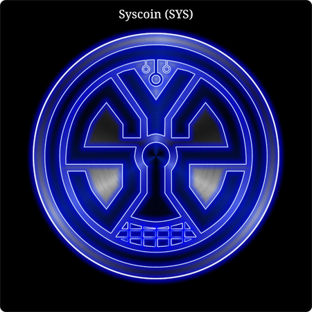 Metal Syscoin  (SYS) cryptocurrency coin with blue neon glow.