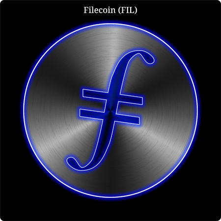 Metal Filecoin (FIL) cryptocurrency coin with blue neon glow. Ilustração