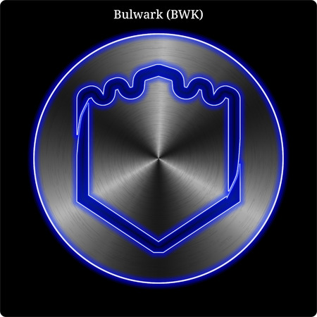 Metal Bulwark (BWK) cryptocurrency coin with blue neon glow. Illustration