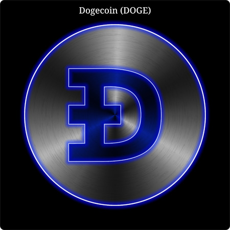 Metal Dogecoin (DOGE) cryptocurrency coin with blue neon glow. Illustration