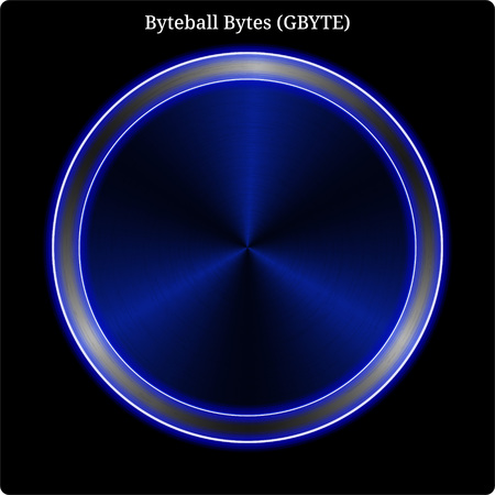 Metal Byteball Bytes (GBYTE) cryptocurrency coin with blue neon glow.  イラスト・ベクター素材