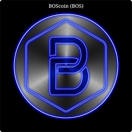 Metal BOScoin (BOS) cryptocurrency coin with blue neon glow.