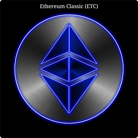 Metal Ethereum Classic (ETC) cryptocurrency coin with blue neon glow. Illustration