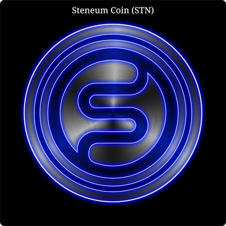 Metal Steneum Coin (STN) cryptocurrency coin with blue neon glow.