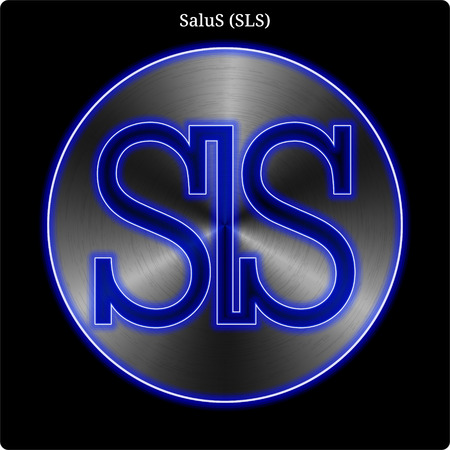 Metal SaluS (SLS) cryptocurrency coin with blue neon glow.