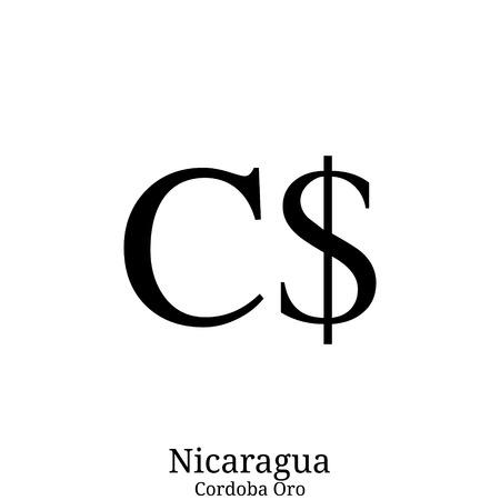 Cordoba Oro currency symbol Illustration
