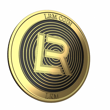 Golden coin LRM Coin (LRM) cryptocurrency isolated on white background. 3D render Banque d'images