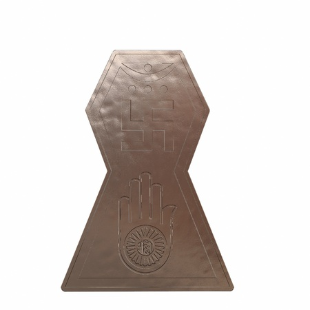 Copper symbol of jainism religion. 3D render Stock Photo