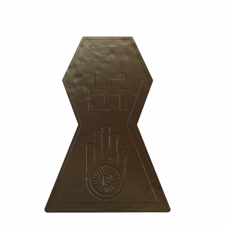 Bronze symbol of jainism religion. 3D render