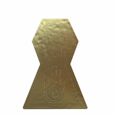 Gold symbol of jainism religion. 3D render
