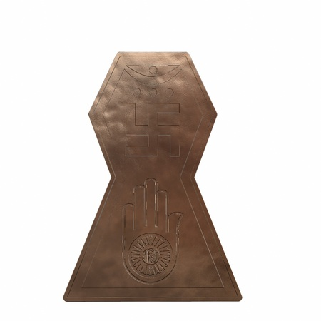 Copper symbol of jainism religion. 3D render Banque d'images