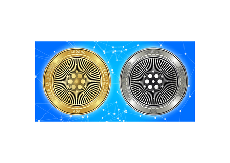 Golden and silver Cardano (ADA) cryptocurrency coins on blockchain blue background. Cardano (ADA) cryptocoin concept. Cryptocurrency coins with Cardano (ADA) symbol. Schematic blue blockchain Illustration