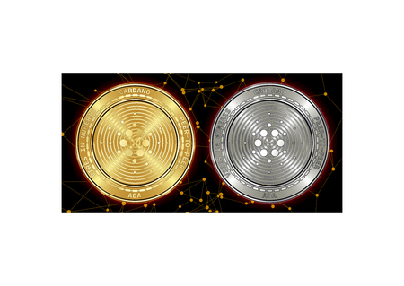 Golden and silver Cardano (ADA) cryptocurrency coins on blockchain black background. Cardano (ADA) cryptocoin concept. Cryptocurrency coins with Cardano (ADA) symbol. Schematic black blockchain