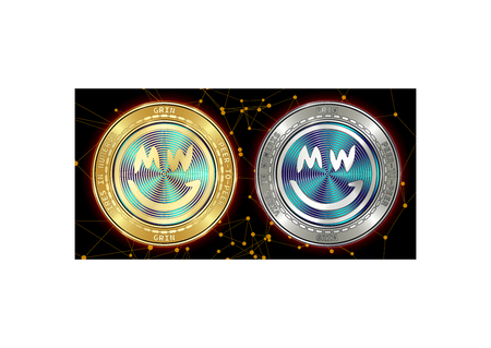 Golden and silver GRIN cryptocurrency coins on blockchain black background. GRIN cryptocoin concept. Cryptocurrency coins with GRIN symbol. Schematic black blockchain Illustration