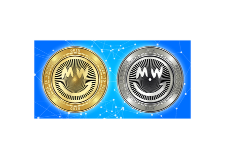 Golden and silver GRIN cryptocurrency coins on blockchain blue background. GRIN cryptocoin concept. Cryptocurrency coins with GRIN symbol. Schematic blue blockchain Illustration