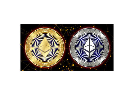 Golden and silver Ethereum (ETH) cryptocurrency coins on blockchain black background. Ethereum (ETH) cryptocoin concept. Schematic black blockchain