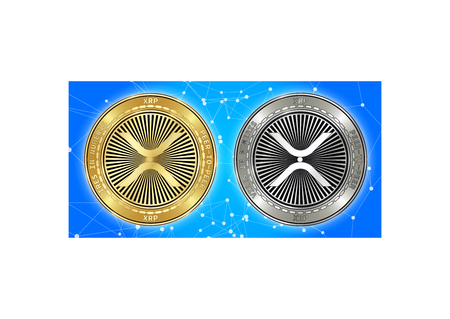 Golden and silver XRP cryptocurrency coins on blockchain blue background. XRP cryptocoin concept. Schematic blue blockchain Illustration