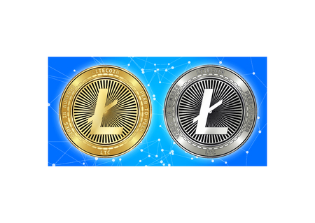 Golden and silver Litecoin (LTC) cryptocurrency coins on blockchain blue background. Litecoin (LTC) cryptocoin concept. Schematic blue blockchain Illustration