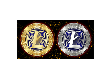 Golden and silver Litecoin (LTC) cryptocurrency coins on blockchain black background. Litecoin (LTC) cryptocoin concept. Schematic black blockchain