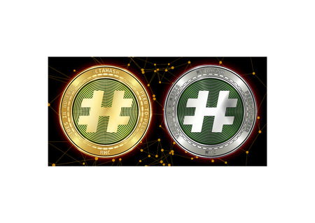 Golden and silver MetaHash (MHC) cryptocurrency coins on blockchain black background. MetaHash (MHC) cryptocoin concept. Schematic black blockchain