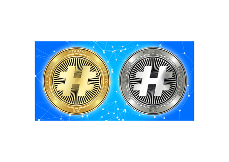 Golden and silver MetaHash (MHC) cryptocurrency coins on blockchain blue background. MetaHash (MHC) cryptocoin concept. Schematic blue blockchain Illustration